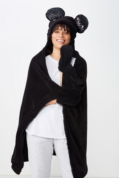Novelty Hooded Blanket, LCN SEQUIN MICKEY