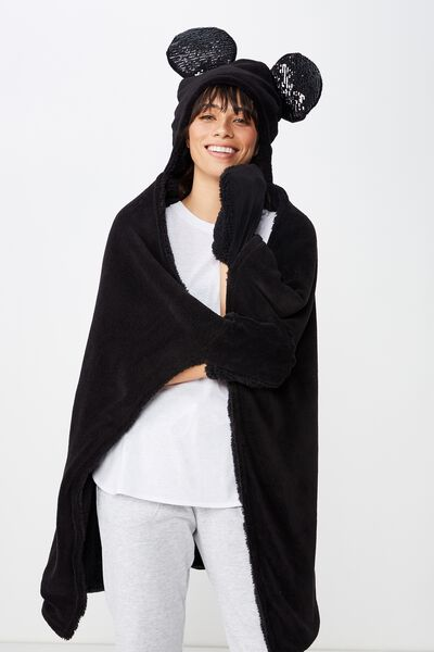 Novelty Hooded Blanket, LCN SEQUIN MICKEY