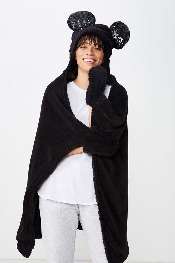 Disney Hooded Blanket, LCN SEQUIN MICKEY