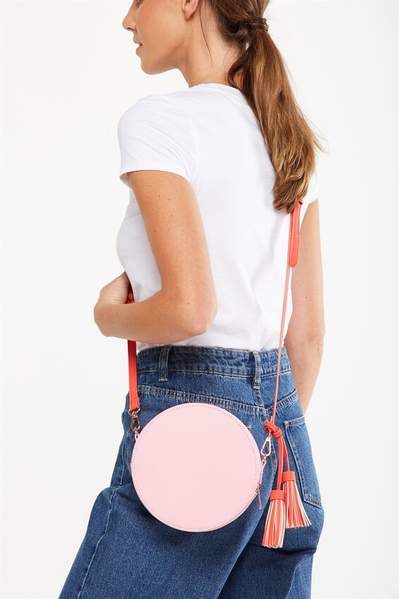 Round Cross Body Bag, PINK AND RED