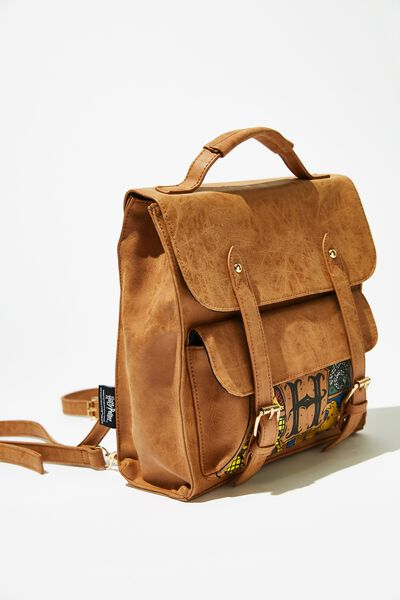 Buffalo Satchel Backpack, LCN WB HPO TAN OVERSIZED HOGWARTS CREST
