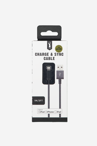 Charge And Sync Cable (Mfi) Charging Cable, BLACK
