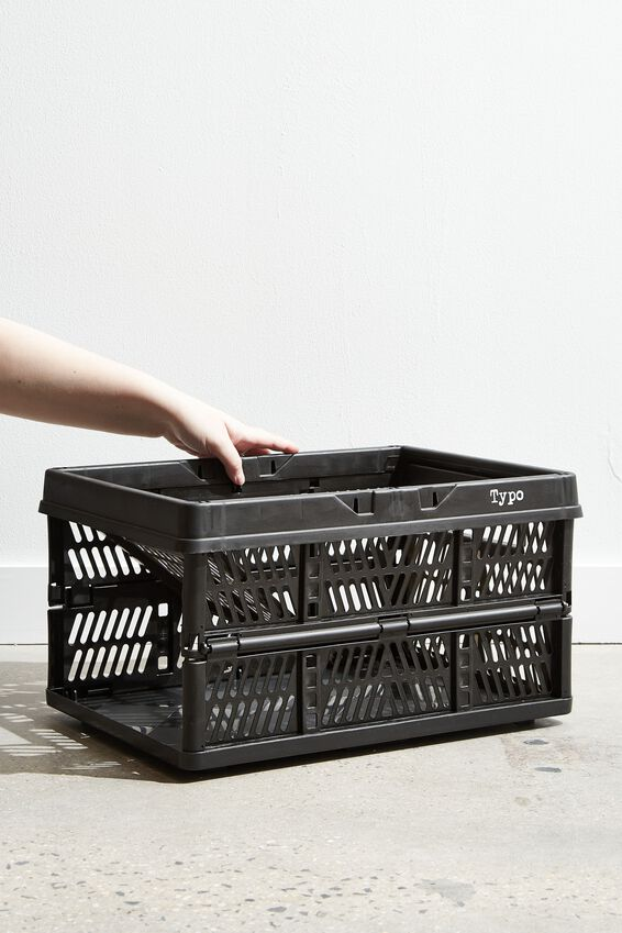 Large Foldable Storage Crate, BLACK
