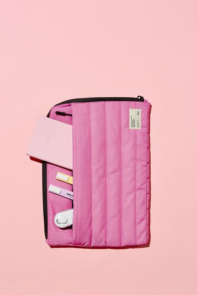 Utility Recycled 13 Inch Laptop Case, MAGENTA AND PLASTIC PINK