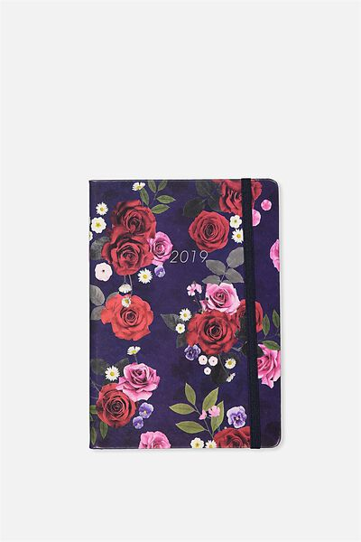 2019 A5 Weekly Buffalo Diary, BLUE FLORAL
