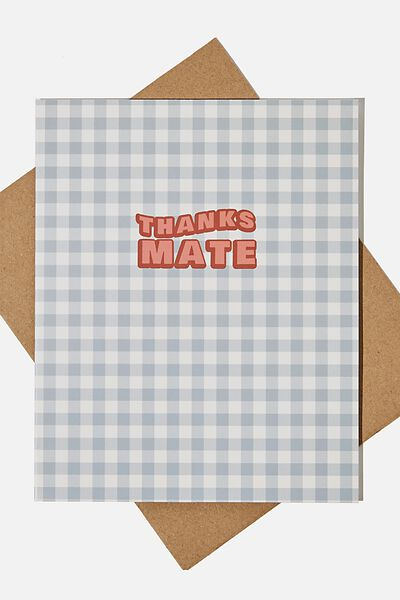Thank You Card, THANKS MATE GINGHAM