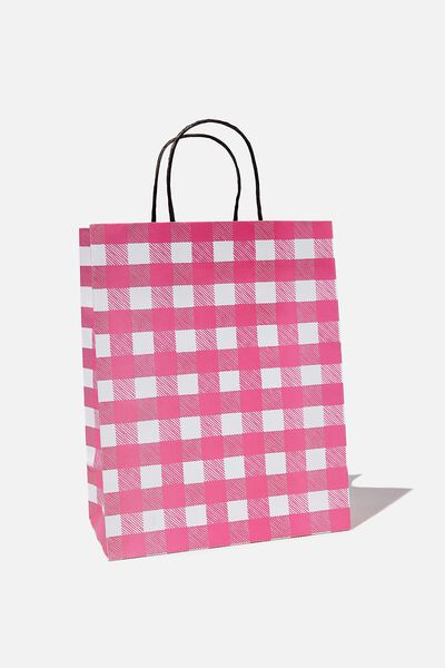 Get Stuffed Gift Bag - Medium, PINK GINGHAM SMALL