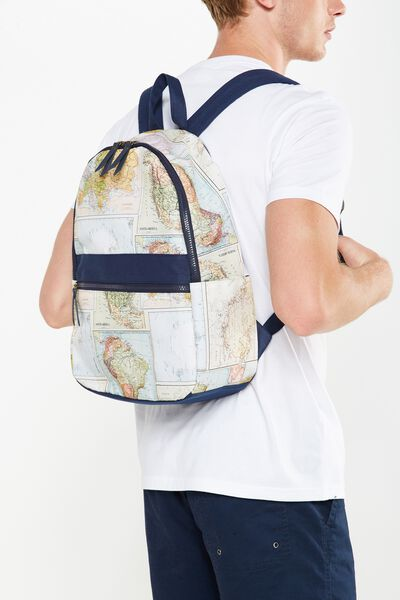 Core Backpack, WORLD MAP PRINT
