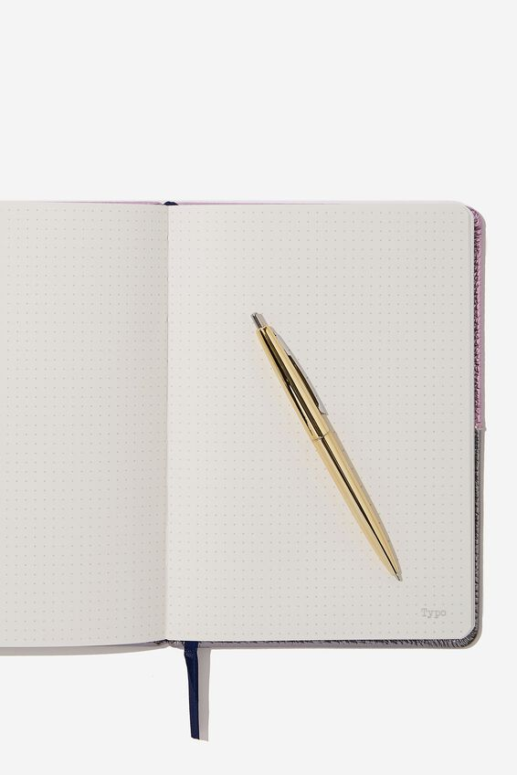 "A5 Note Taker Dot Journal (8.27"" x 5.83""), PURPLE AND SILVER"