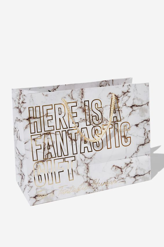 Stuff It Gift Bag - Medium, WHITE MARBLE FANTASTIC HUMAN