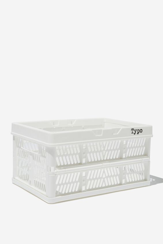 Small Foldable Storage Crate, WHITE