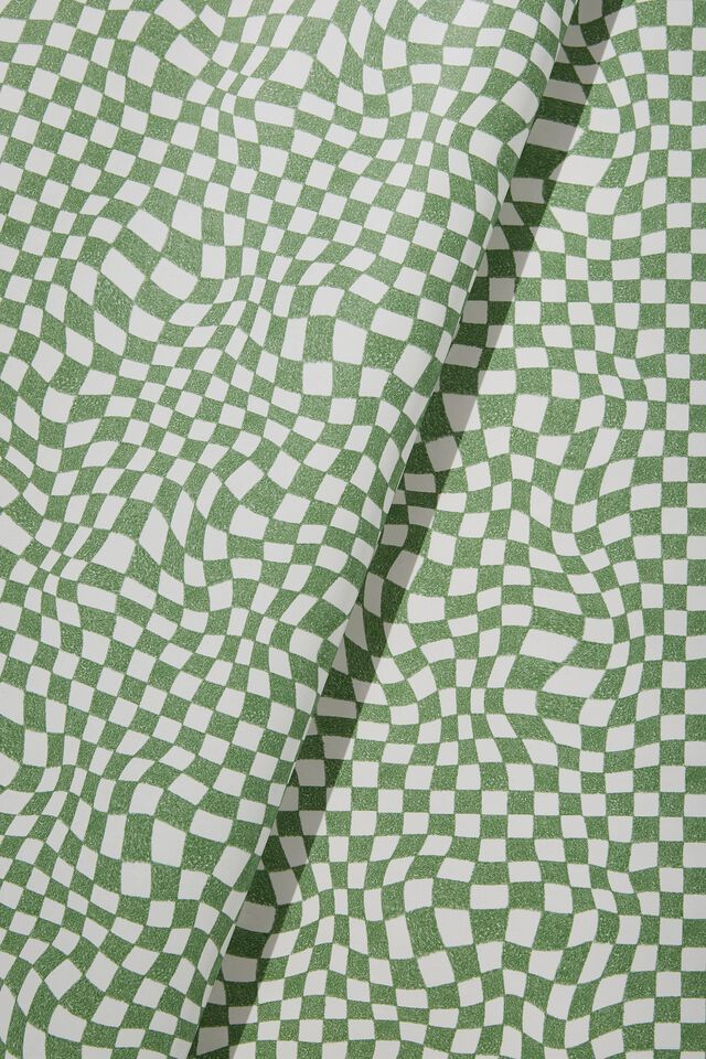 Christmas Wrapping Paper Roll, GREEN WARPED CHECKERBOARD