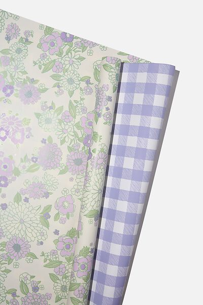 Double Sided Roll Wrap, MOLLY FLORAL LILAC GINGHAM