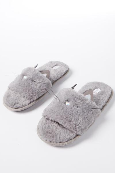 Slippers, GREY FUR CAT