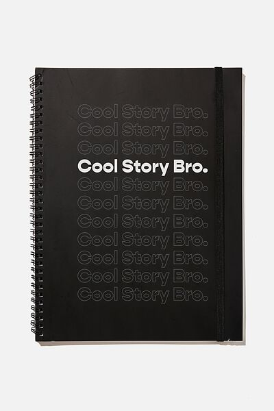 A4 Spinout Notebook Recycled, RG NZ COOL STORY BRO
