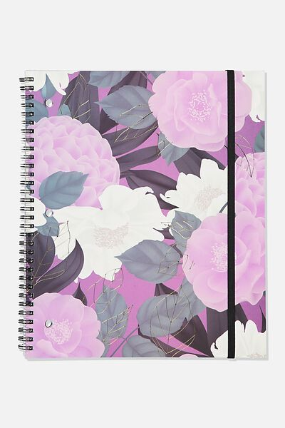 College Ruled Spinout Notebook V, LILAC FLORAL