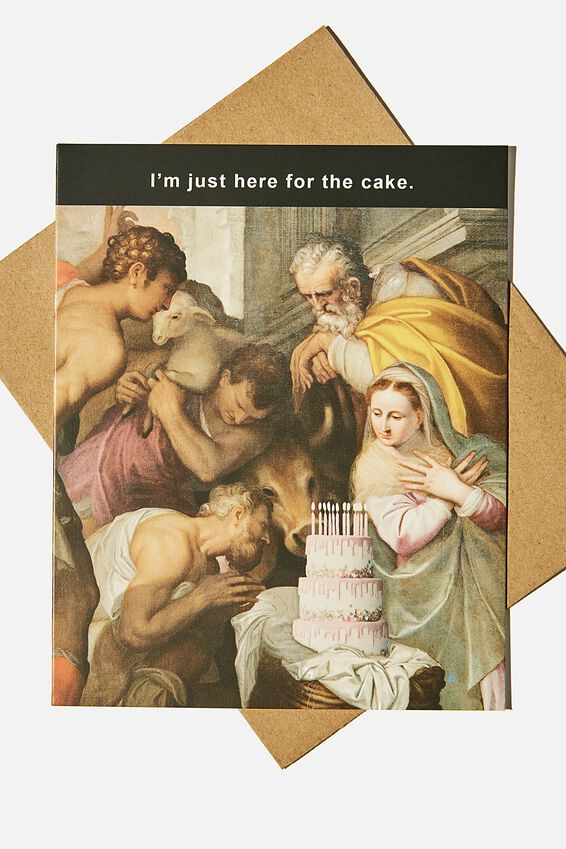 Funny Birthday Card, I'M JUST HERE FOR THE CAKE MEME