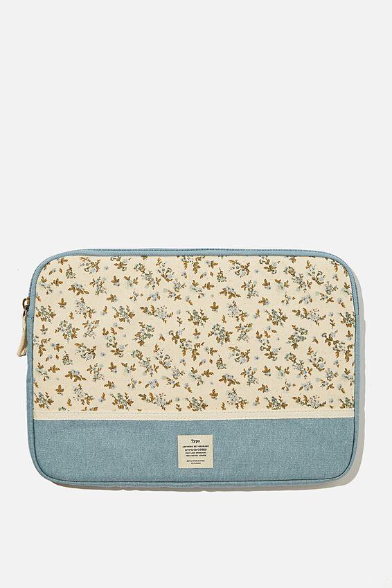 Take Me Away 13 Inch Laptop Case, COTTAGE FLORAL BLUE