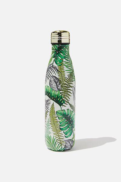 Metal Drink Bottle, STONE FERN FOLIAGE