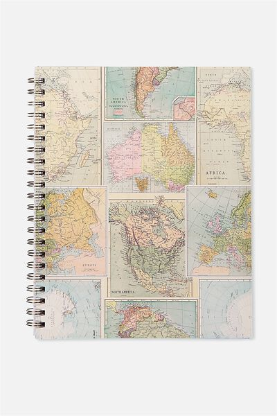 Large Campus Notebook - 240 Pages, GRID WORLD MAP