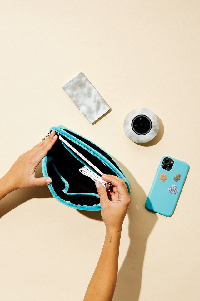 Velvet Essential Pouch, DUSTY TURQUOISE