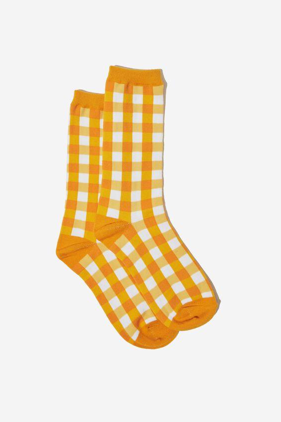 Socks, MUSTARD GINGHAM