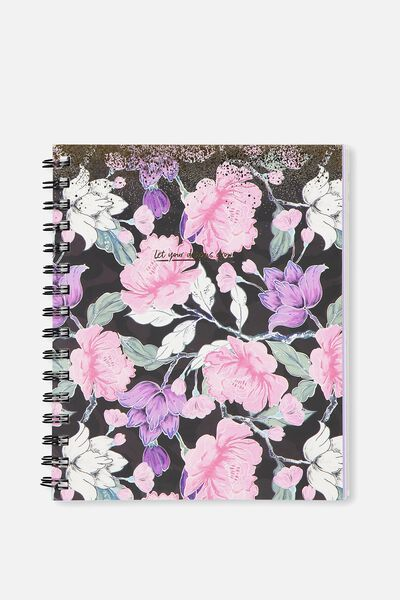 A5 Campus Notebook, LUSH FLORAL SPLATTER