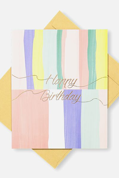 Nice Birthday Card, HAPPY BIRTHDAY STRIPE