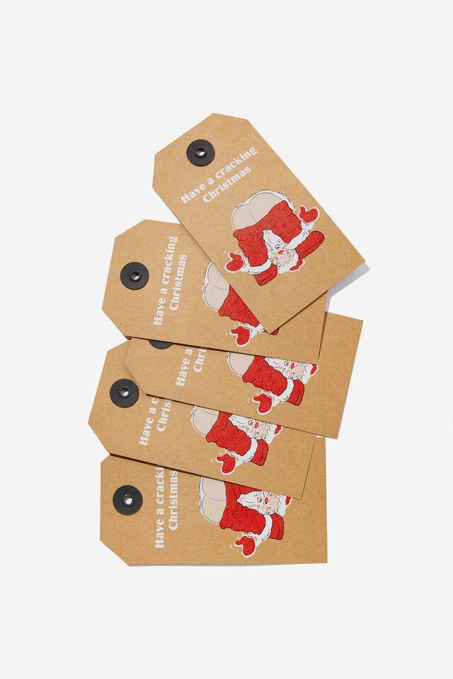 Gift Tag 5 Pack, CRACKING SANTA CHRISTMAS
