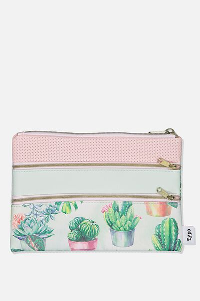 Double Archer Pencil Case, WATERCOLOUR CACTUS