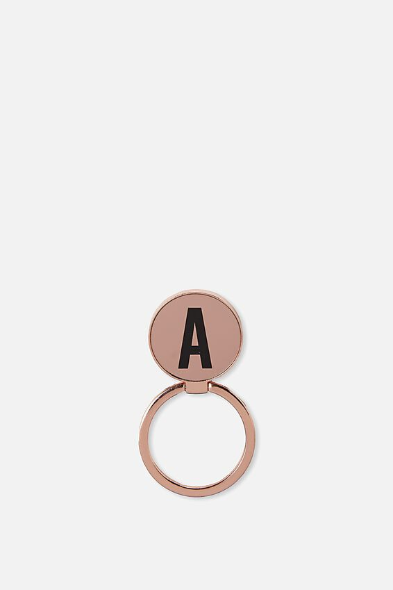 Metal Alpha Phone Ring, ROSE GOLD A