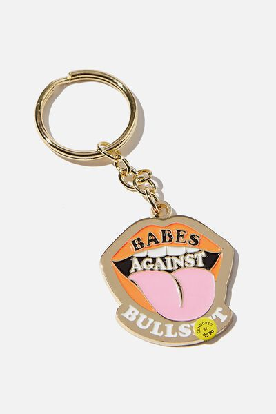 Enamel Keyring, BABES AGAINST BULL!