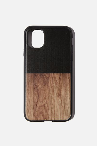 Protective Phone Case iPhone 11, BLACK & MAPLE WOODGRAIN SPLICE