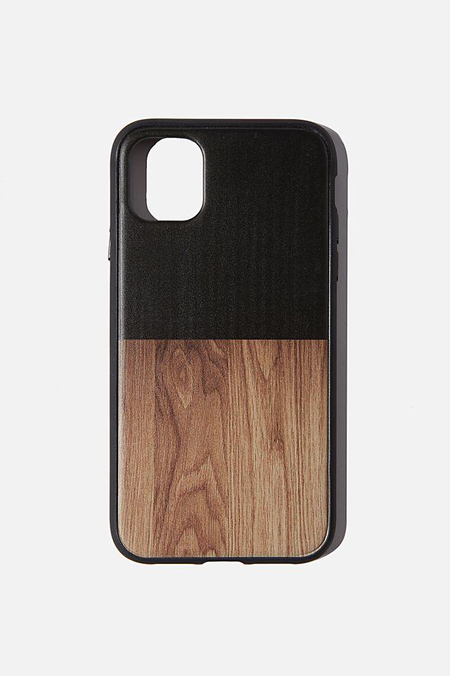 Protective Phone Case iPhone 11, BLACK & MAPLE WOODGRAIN SPLICE