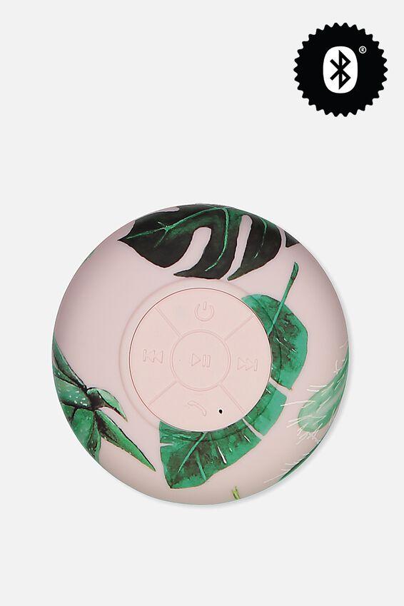 Waterproof Bluetooth Shower Speaker, PINK PALM
