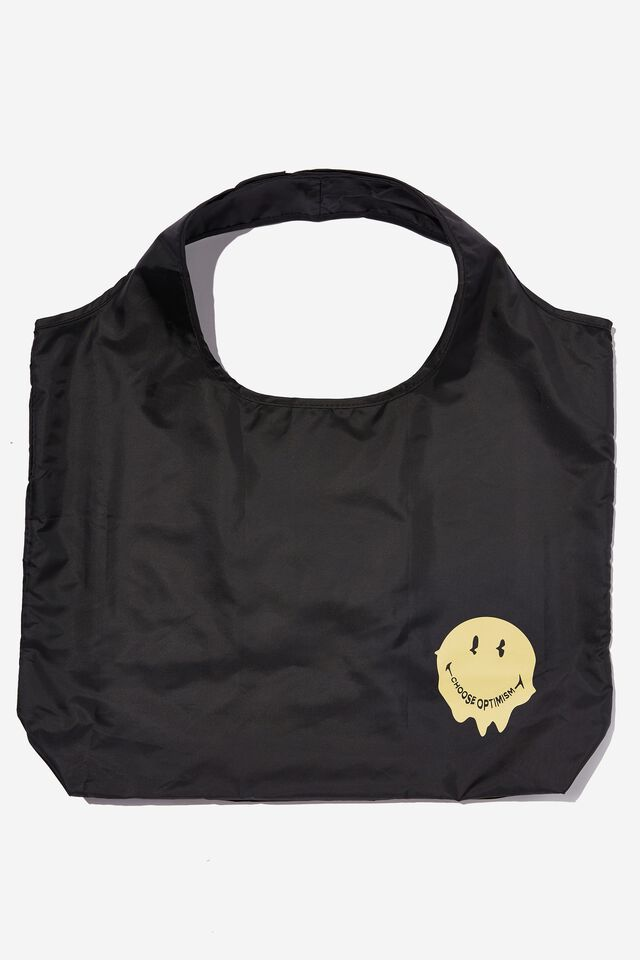 Smiley Foldable Shopper Tote Bag, LCN SMI WARPED SMILEY