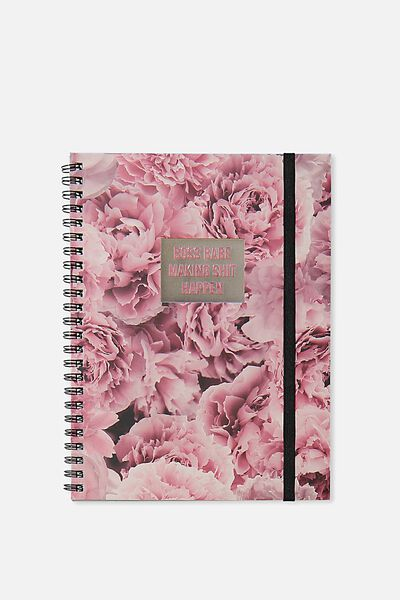 A5 Spinout Notebook - 120 Pages, FLORAL BOSS BABE!