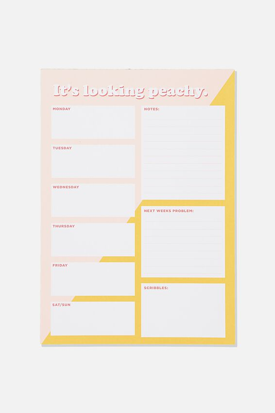 A4 Plan Ahead Planner, PINK YELLOW SPLICE