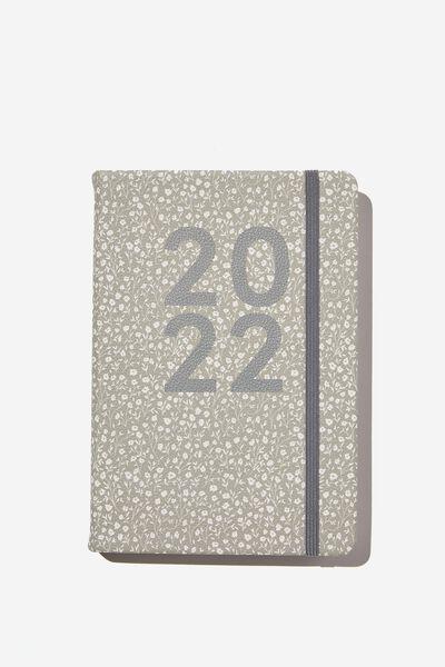 2022 A5 Daily Buffalo Diary, COOL GREY MEADOW DITSY
