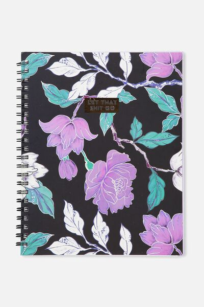 A4 Campus Notebook, LUSH FLORAL!