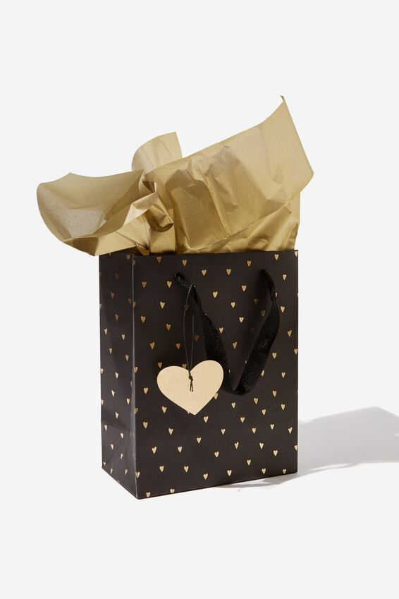 Small Gift Bag with Tissue Paper, BLACK GOLD HEART