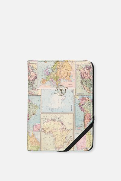 Passport Holder, WORLD MAP PRINT