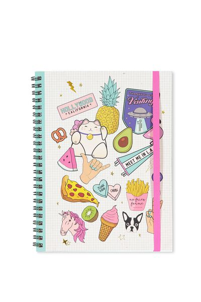 A5 Spinout Notebook - 120 Pages, PATCHES ON GRID