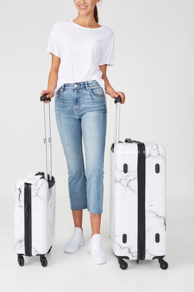 Suitcase Luggage Set, BLACK & WHITE MARBLE