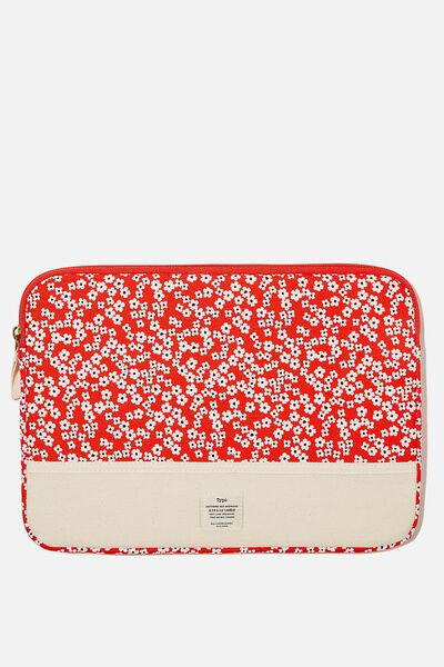 Canvas 13 Inch Laptop Case, RG TRUE RED CHERRY BLOSSOM WITH RAW CANVAS SP
