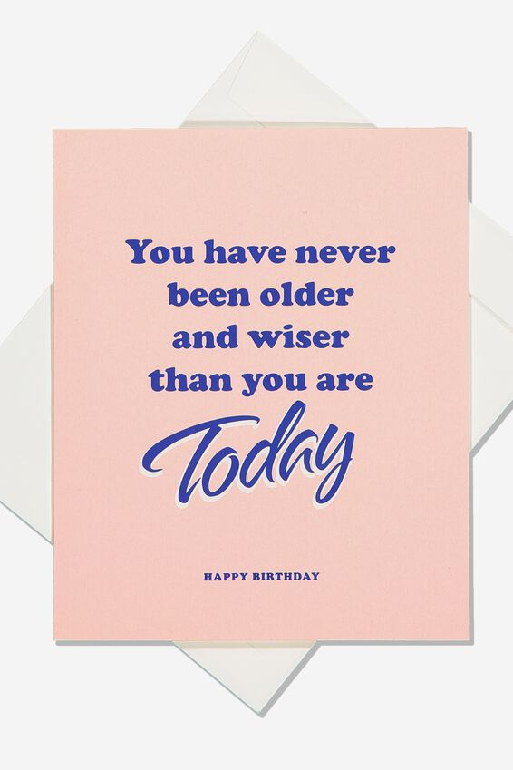 Funny Birthday Card, OLDER AND WISER