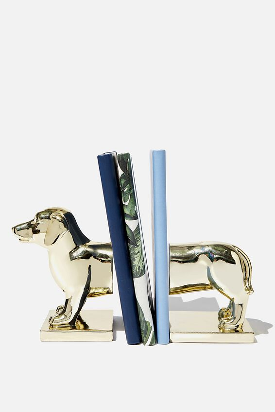 Novelty Bookends, GOLD DASHCHUND