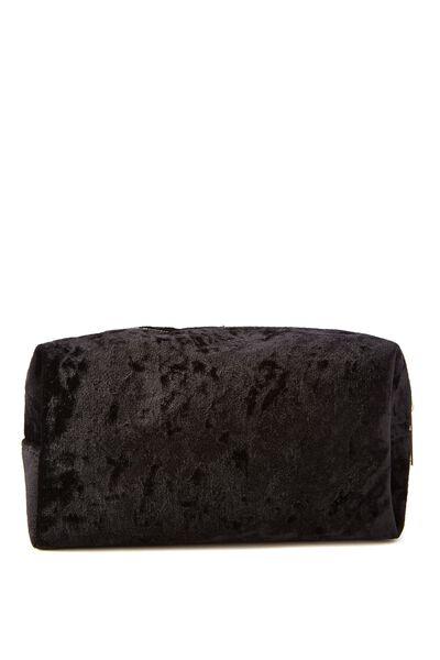Made Up Cosmetic Bag, BLACK CRUSHED VELVET