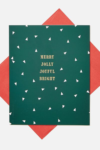 Christmas Card 2020, MERRY JOLLY JOYFUL GREEN