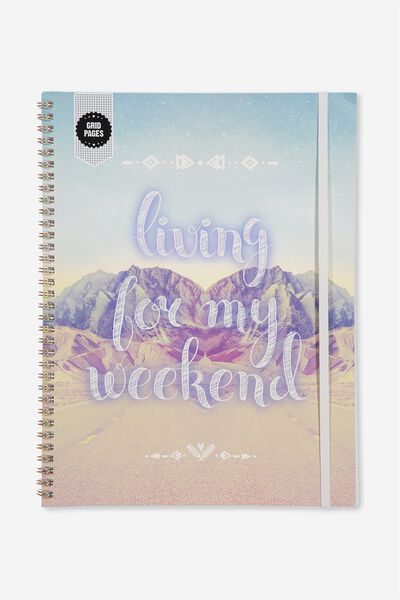 A4 Spinout Notebook Grid Page, LIVING FOR THE WEEKEND